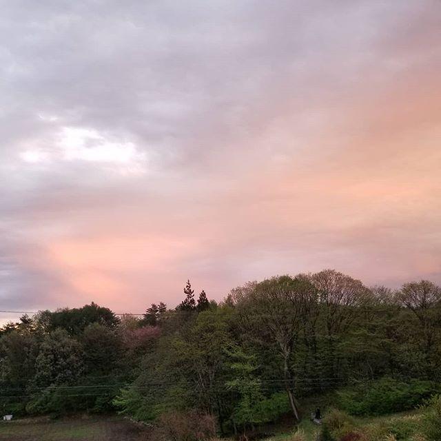 東の空を夕映えが照らす 連休最後の日 #ひなぎくきつね #八ヶ岳の空機嫌